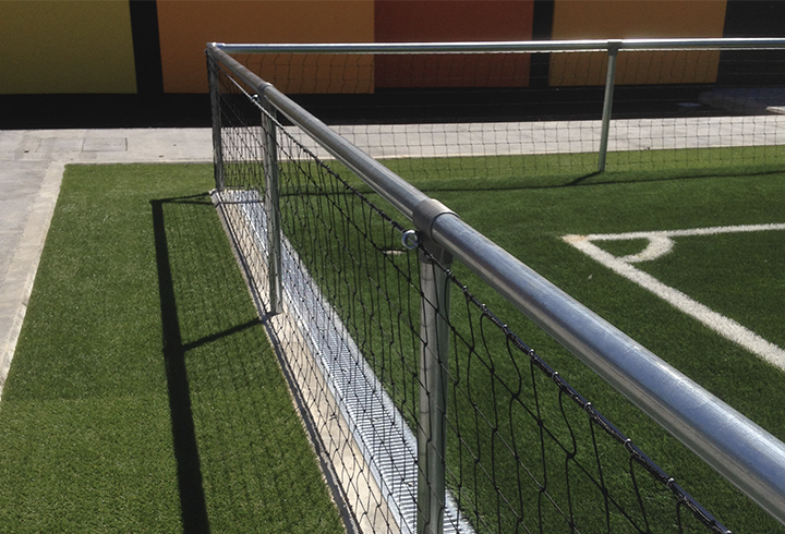 Spectator barrier system for football pitches