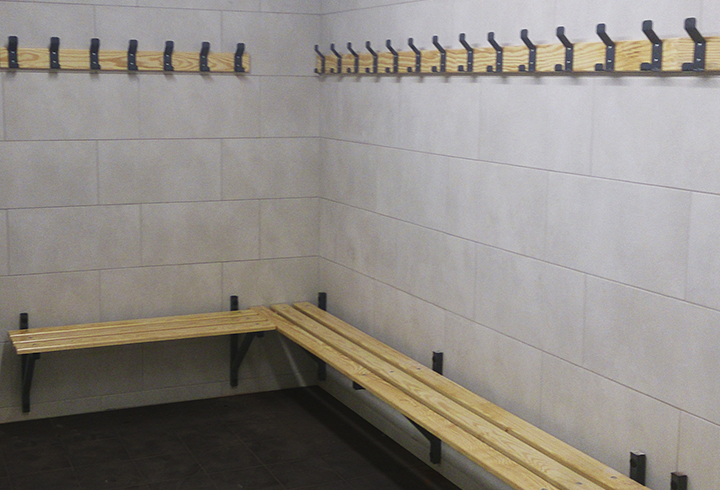 Mural changing room benches
